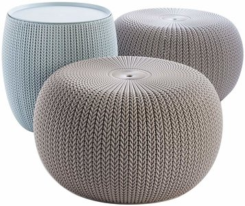 Keter Urban Knit Pouf Set, Dune/Misty Blue